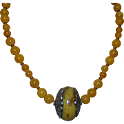 Artisan Created Gold Jade Necklace with Nepal Butterscotch Amber Pendant