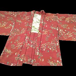 Vintage Haori Kimono in Dark Peach with Japanese County Scenes in Silk Crepe