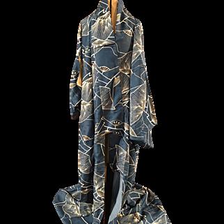 Vintage Japanese Kimono In A Sapphire Blue Hue