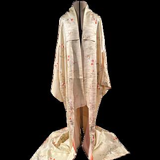 Vintage Japanese Kimono In Peach  Blossom Crepe De Chine
