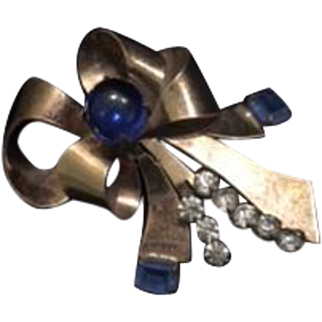Vintage 1940's Bow Brooch with Large Sapphire Hue Rhinestones