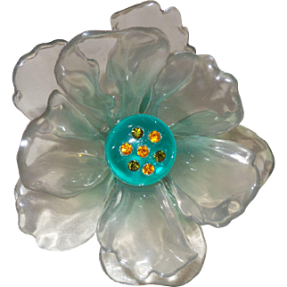 Vintage Cellulose Acetate Flower Brooch With Rhinestone Accents