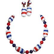 Signed Miriam Haskell Patriotic Red White and Blue Necklace and Earrings