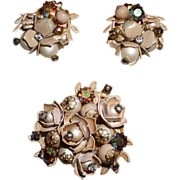 Vintage Unsigned Miriam Haskell Brooch and Earrings