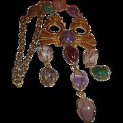 "Vintage Lawrence Vrba Mayan Motif Signed ""Castlecliff"" Necklace"