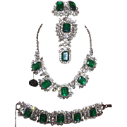 Vintage Juliana Flawed Emerald Grand Parure with Original Hang Tag