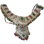 Vintage Ethnic Superb Silver Tone Ruby/Emerald Necklace