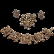Signed Rare Colco Gods of Fortune Brooch, Bracelet, Earrings