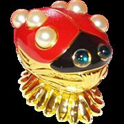 Signed KJL Figural Lady Bug Pin with Original Box