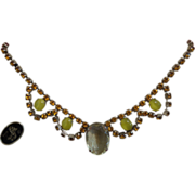 Juliana Necklace With A Large Lemon Citrine Oval Stone with Original Hang Tag