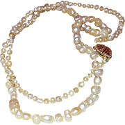 """Vintage Cultured Pearl 14"""" Necklace with 14K Gold Clasp"""
