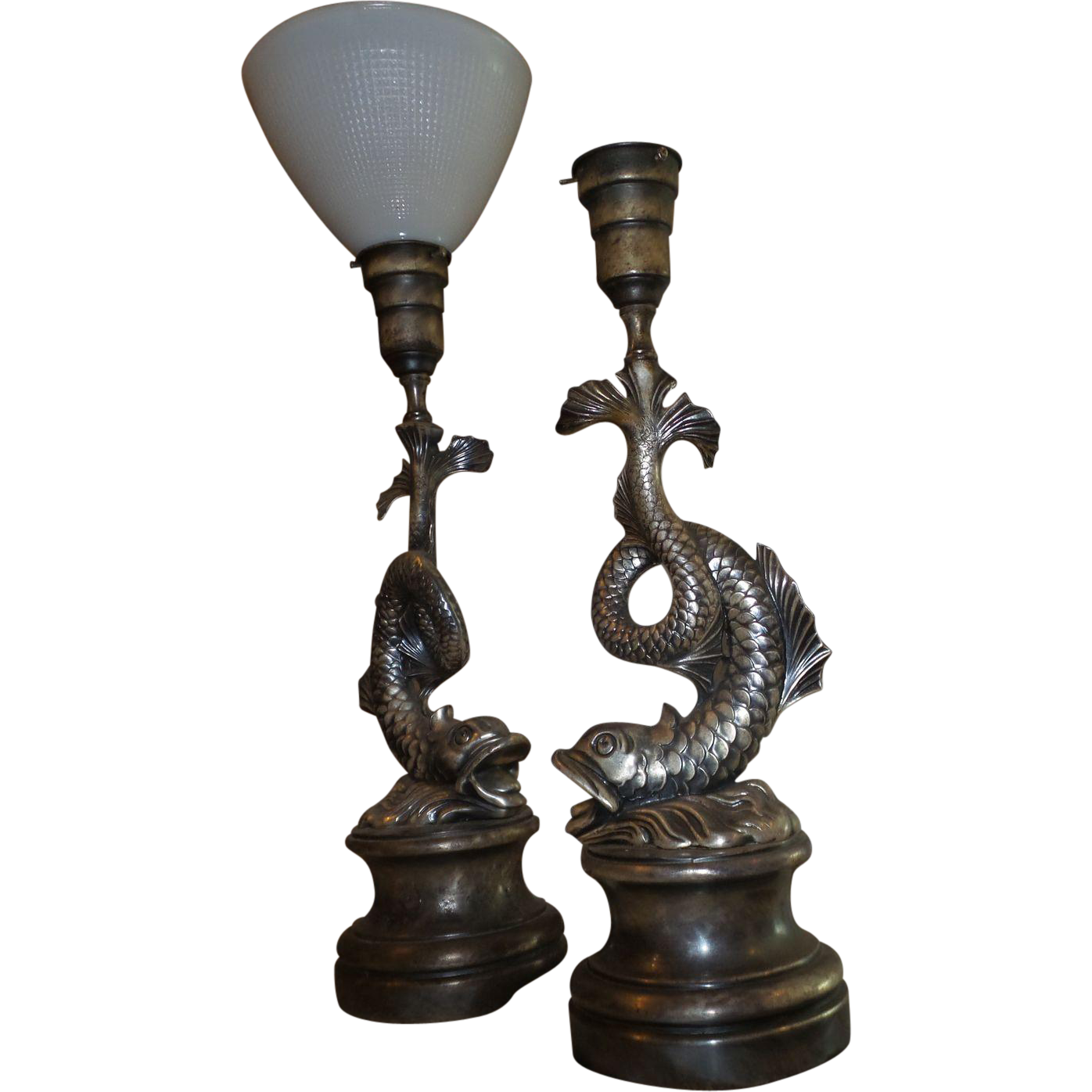 Vintage French Made 1920 S Pair Of Dolphin Shaped Lamps In