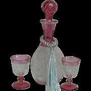 Vintage Pressed Glass Decanter/Pair Cordials