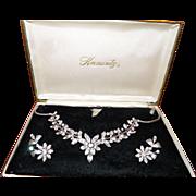 Vintage Krementz Rhinestone Necklace and Earrings in Original Box