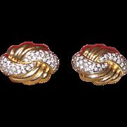 Vintage Swarovski Signed Earrings in Gold Tone Metal