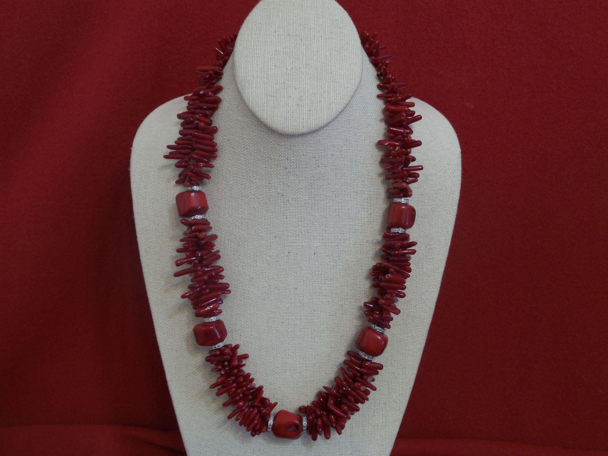 Vintage Double Strand of Red Branch Coral and Dyed Free Form Coral Set from pearlgirls on Ruby Lane