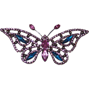 Vintage Pink and Blue Rhinestone Butterfly Brooch