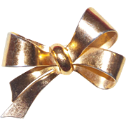 Signed Coro Gold Tone Bow Brooch