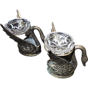 Vintage Pair of Swan Salts in Pewter and Crystal