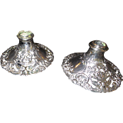 Signed Sterling Candlesticks with the Marks of Lion Passant, Guardant