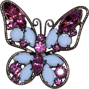 Juliana Figural Butterfly Brooch in Pink Rhinestone and White Jet