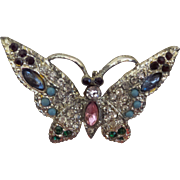 Vintage Butterfly in Pink, Blue, Red, Green and Clear Rhinestones