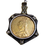 Vintage Victorian 1891 Gold Coin Pendant with Diamonds