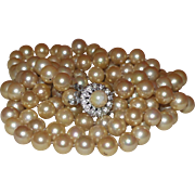 Vintage Double Strand Necklace of Matched Champagne Colored Simulated Pearls