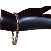 Vintage Ruby and Diamond 10KYG Tennis Bracelet