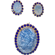 Juliana Oval Geode Blue Quartz Brooch with Earrings.