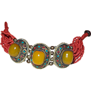 Ethnic Amber and Coral Bracelet - Red Tag Sale Item