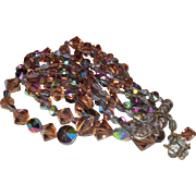Dazzling Vintage Necklace of Three Strands Of Aurora Borealis Crystals