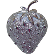 Signed Sarah Coventry Silver Tone Strawberry Brooch