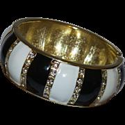Vintage Black and White Enamel Hinged Bracelet With Rhinestones