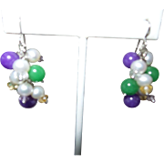 Artisan Created Jade, Amethyst and Cultured Pearl Dangle Earrings