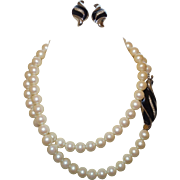 Signed Richelieu Pearl, Enamel, and Rhinestone Faux Pearl Necklace With Earrings