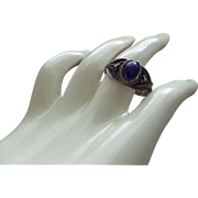 Ethnic Blue Lapis Cabochon Ring Set In Silver