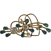 Vintage Double Heart Brooch/Pendant  With Rhinestones