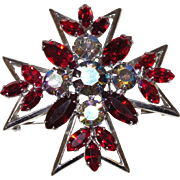 D&E Juliana Red Rhinestone and Aurora Borealis Maltese Cross
