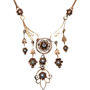 Antique Victorian Natural Pearl and Diamond Necklace in 10K Gold