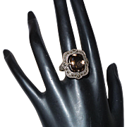 Vintage Victorian Revival Sterling Marcasite and Topaz Ring