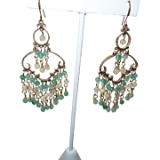 Artisan Jade and Agate Chandelier Earrings in Gold Tone Metal