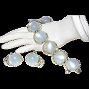 Vintage Coro Bracelet/Earrings With Gleaming  Moonglow
