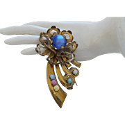 Vintage Moonglow and Brass Brooch