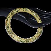 Vintage Hand Painted Jade Bangle