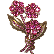 Vintage Pink Rhinestone Brooch