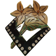 Vintage Celluloid Flower Motif Pin