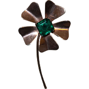 Vintage Clover Brooch With Emerald Green Glass Stone