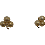 Signed Majorica Simulated Pearl Earrings
