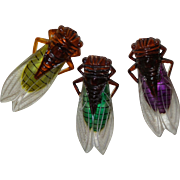 Vintage French Cicada Pins With The Body In Bakelite